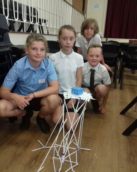 Pupils were tasked with constructing the scaffolding for a cathedral roof repair. Photo: Bungay High