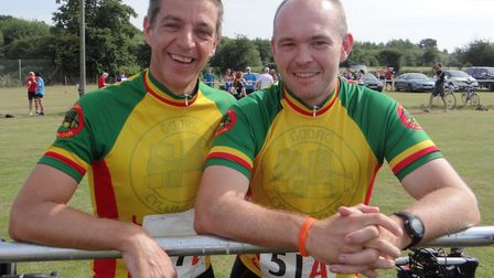 Bungay Black Dog Runners duathlon champions Phil Marler (left) and Simon Asher from Godric Cycling
