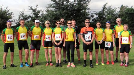 Members of Godric CC taking part in the Black Dog Invitation Duathlon face the camera. Picture: Club