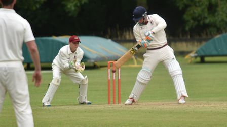 Chris Howes batting for Old Buckenham during Saturday's Norfolk Alliance Premier Division clash with