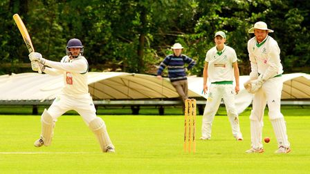 James Hale in action for Great Witchingham against Burwell in the EAPL. Picture: Tim Ferley
