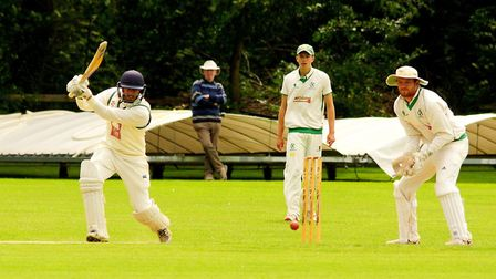 James Hale on the attack for Great Witchingham in Saturday's rain-affected game against Burwell. Pic