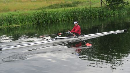 Andrew Todd in a single sculling boat at the Sudbury International Regatta. Photo: Courtesy of Beccl