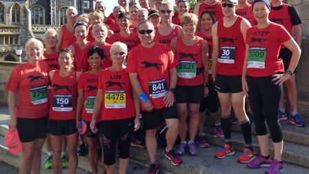 A big contingent of Bungay Black Dogs paint the city of Norwich red ahead of last Saturday's annual