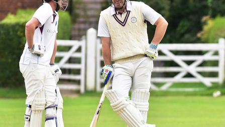 Action from the EAPL match between Swardeston (batting) and Great Witchingham (Jordan Taylor and Joe