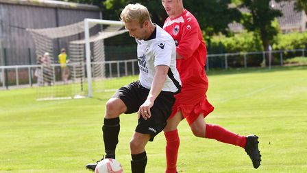 Beccles in possession in the John Humby Cup. Picture: Nick Butcher
