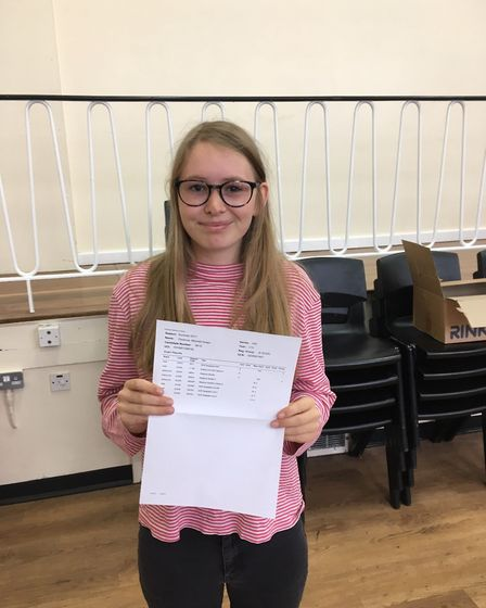 Florence Mitchell- Green, of Bungay High School Sixth Form, recieved 3As. Photo: James Carr.