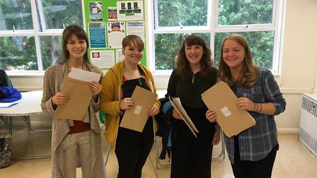 Students at Sir John Leman High School Sixth Form picking up their A-Level results. Photo: James Car