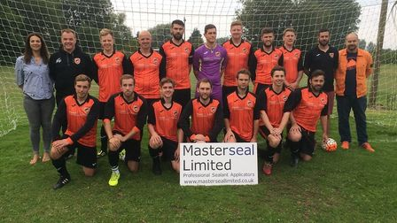 Earsham FC, with representatives of main club sponsor Masterseal (Catherine Fisher and Gyles Fisher)