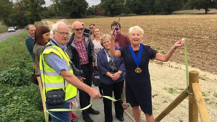 Norfolk County Council vice chairman Margaret Stone offically opens the Hollow Hill Footpath, in Dit