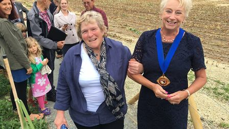 Dorothy Cheyne and Margaret Stone, vice chairman of Norfolk County Council at the opening of the Hol