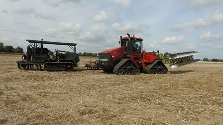 Roger Desborough's 1917 Holt Crawler and Brian Collen's Case Quad Trac come together to demonstrat