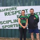 Jazmin Wones with Beccles head coach Stuart Adams. Picture: Beccles Rugby Club