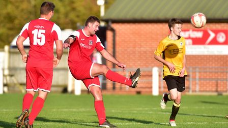 Despite all their problems Fakenham Town (amber) managed to field a side against Yelverton on Saturd