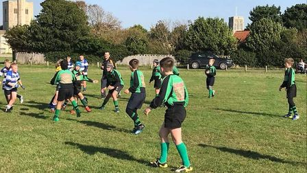 Beccles Rugby Club U-12s in action at Southwold. Picture: Ian Turrell.