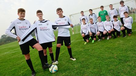 Some of the U16s Bees team at Beccles Town Football Club. Picture: Angela Sharpe Photography.