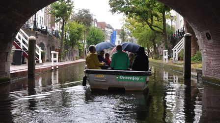 Beccles Rotary club members visit a Dutch club. One of the two boats on the canals in Utrecht. Pictu