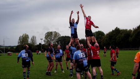 Adam Lingwood rising high in the line-out as Fakenham take on Norwich Medics. Picture: Club