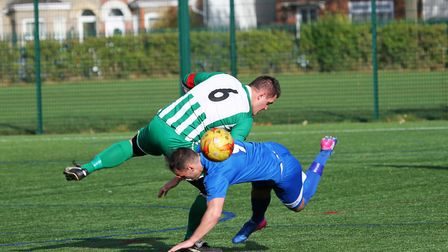 Action from the Lowestoft & District Saturday League Division One encounter between Kirkley & Pakefi