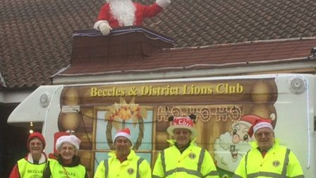 Santa and his helpers from Beccles Lions. Photo courtesy of Beccles and District Lions Club.