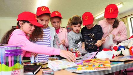 The children from Belarus enjoying activities during their visit with the Chet and Waveney Link of t
