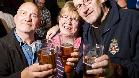 Alec Talbot, Julie Grimmer and Dean Rose enjoy the opening evening of the 6th Annual Beccles Beer Fe