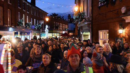 A previous Christmas lights switch on event in Halesworth. Picture: Denise Bradley.