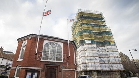 Beccles Bell Tower undergoing major renovations.Picture: Nick Butcher