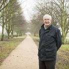 Councillor Graham Catchpole on the recently finished walkway through the Beccles Avenue.Picture: Nic