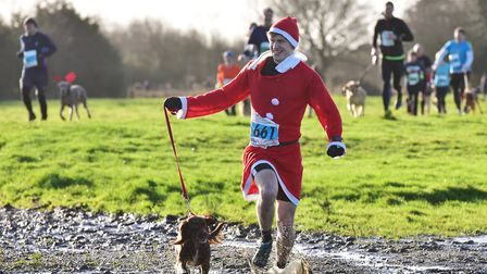 Last year's Boxing Day Groggy Doggy run across Outney Common in Bungay. Picture: Nick Butcher.