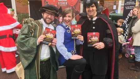 The cast of the Fisher Theatre's pantomime Dick Whittington and his cat were at the street market.Pi