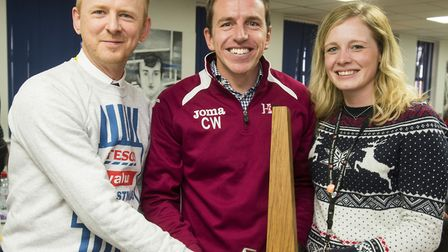 Bungay Sixth Form teachers Richard Stubbs, Chris Webster and Sophie Myers, winners of the kurling cu