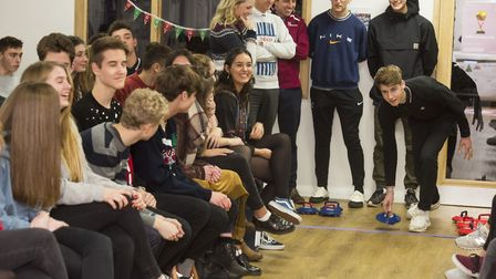 Teachers and students take part in the kurling cup final at Bungay Sixth Form. Picture: Nick Butcher