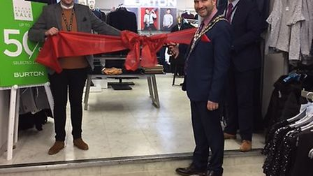 Beccles mayor Richard Stubbings cuts the ribbon on the new Burton in Beales Department Store. Pictur