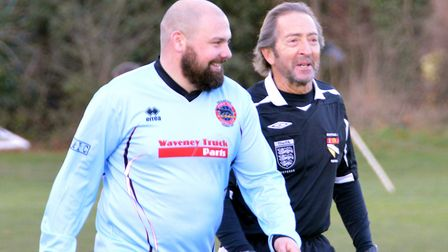 Ex-Gorleston manager Ricci Butler making his Bungay Town debut at Loddon. Picture: Shaun Cole