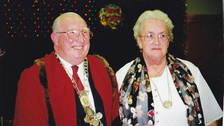 Arthur Fisher and his wife Mavis during his year as town reeve of Bungay. Picture: Courtesy of Mavis