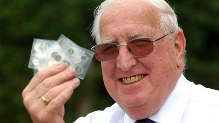 Arthur Fisher with the Maundy money he received from the Queen in 2009. Picture: Archant.