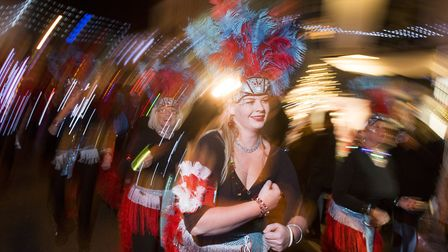 The Suffolk school of Samba at the Beccles Christmas 2017 festive light switch-on.Picture: Nick Butc