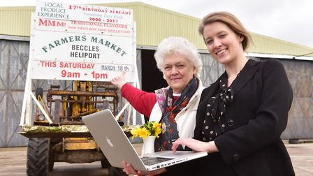 Chloe Donovan and her grandmother Margaret Hall, who help run the Beccles Farmers Markets. Picture: