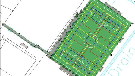 Plans for a 3G football pitch at Beccles Town Football Club. Picture: RLF Consulting