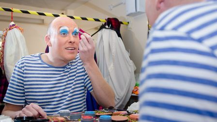 Daniel Hanton getting dressed up for his role as Nurse Nellie. Picture: James Norman at Charlotte Ja