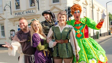 Daniel Hanton with the rest of the Robin Hood cast at Beccles Public Hall. Picture: Charlotte James