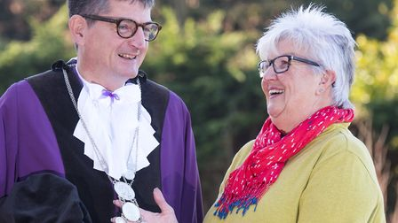 New Bungay Town Reeve Stephen Went with outgoing reeve Mary Sprake. Picture: Nick Butcher