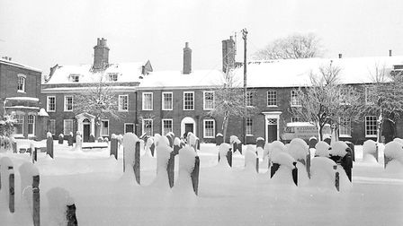 Bungay town centre covered in snow, 3rd January 1969. Photo: Archant Library