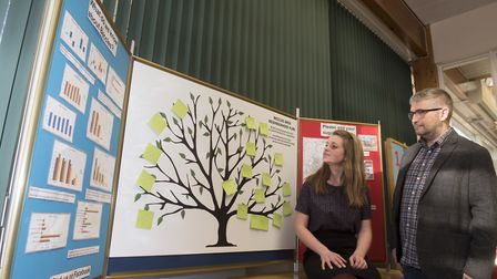 Elfrede Brambley-Crawshaw and Richard Stubbings with the wishing tree last year at Beccles Library.