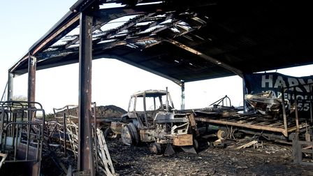 The fire destroyed a barn full of farming machinery. Picture: Nick Butcher