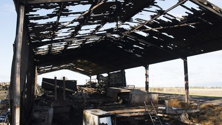 The burnt out barn in the aftermath of the fire. Picture: Nick Butcher