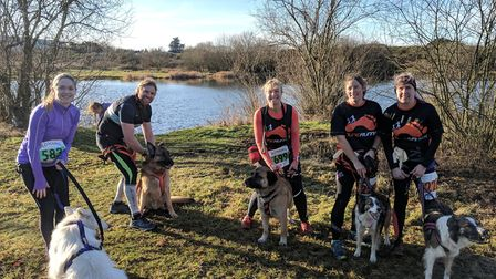 A group with their dogs for the Bungay Groggy Doggy Race 2017. Photo: George Ryan