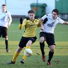 Action from Beccles Town's final match of 2017, a 3-2 home win over Hellesdon on December 16. Pictur