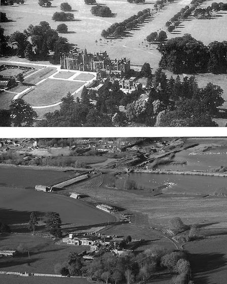 North East view of Flixton Hall and Park. Top picture taken in 1944 by U.S. Flixton 446th Bomb Group